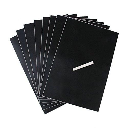 Romote Packung mit 8 Abnehmbare Schwarze Tafel Aufkleber/Selbstklebe Kreide Tafel-Wand-Aufkleber wasserdicht und langlebig A4 Größe umfaßt 1 Chalk für Aufkleber Schule & Heim (Schwarz)