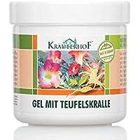 Kräuterhof Gel con harpagofito para cuidados refrescantes y masaje relajante, con extracto de raizes de harpagofito y eucalipto, mentol y canfer bote de 250 ml sellado con aluminio