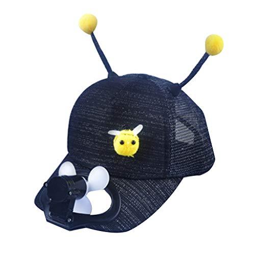 YWLINK Kinder Sommer Sonnenhut Fan Süß MäDchen Atmungsaktiv Outdoor Biene Cartoon Caps Junge USB Charging Shade Sonnenschutzhut