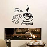 Yologg 44X46Cm French Bread Coffee Food Vinyl Removable Wall Stickers for Restaurant Dining Room Kitchen Decal Home Decoration