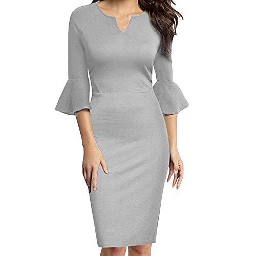 Riou Minikleid Damen Langarm Elegant Einfarbig Grosse Grössen Sexy V-Neck Bell-Ärmel Büroarbeit Casual Bodycon ()