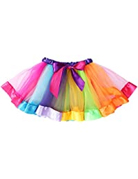 LUOEM Falda de tutú arcoíris en Capas para niñas con Volantes, Vestido de Rendimiento de Danza con gradas para niñas de 4 a 6 años