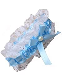 Blue Ribbon And Lace Garter With Centre Pearl Bead And Blue Ribbon Bow