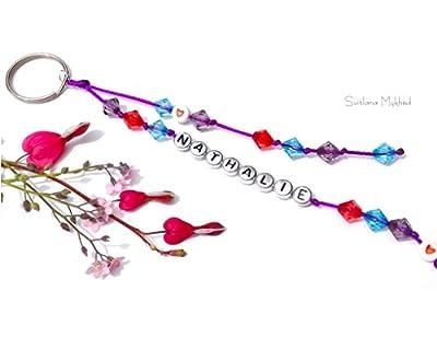 Porte clés personnalisable NATHALIE (réversible) avec prénom ou message, logo, surnom; pour homme, femme, enfant