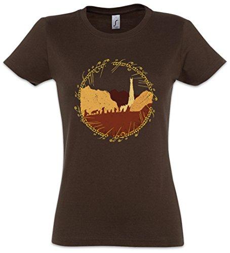 Ring Fellowship Damen Girlie T-Shirt - Lord of Gefährten Herr The der Rings Ringe Frodo Sauron Gandalf Aragon Größen XS - 2XL (XXL)