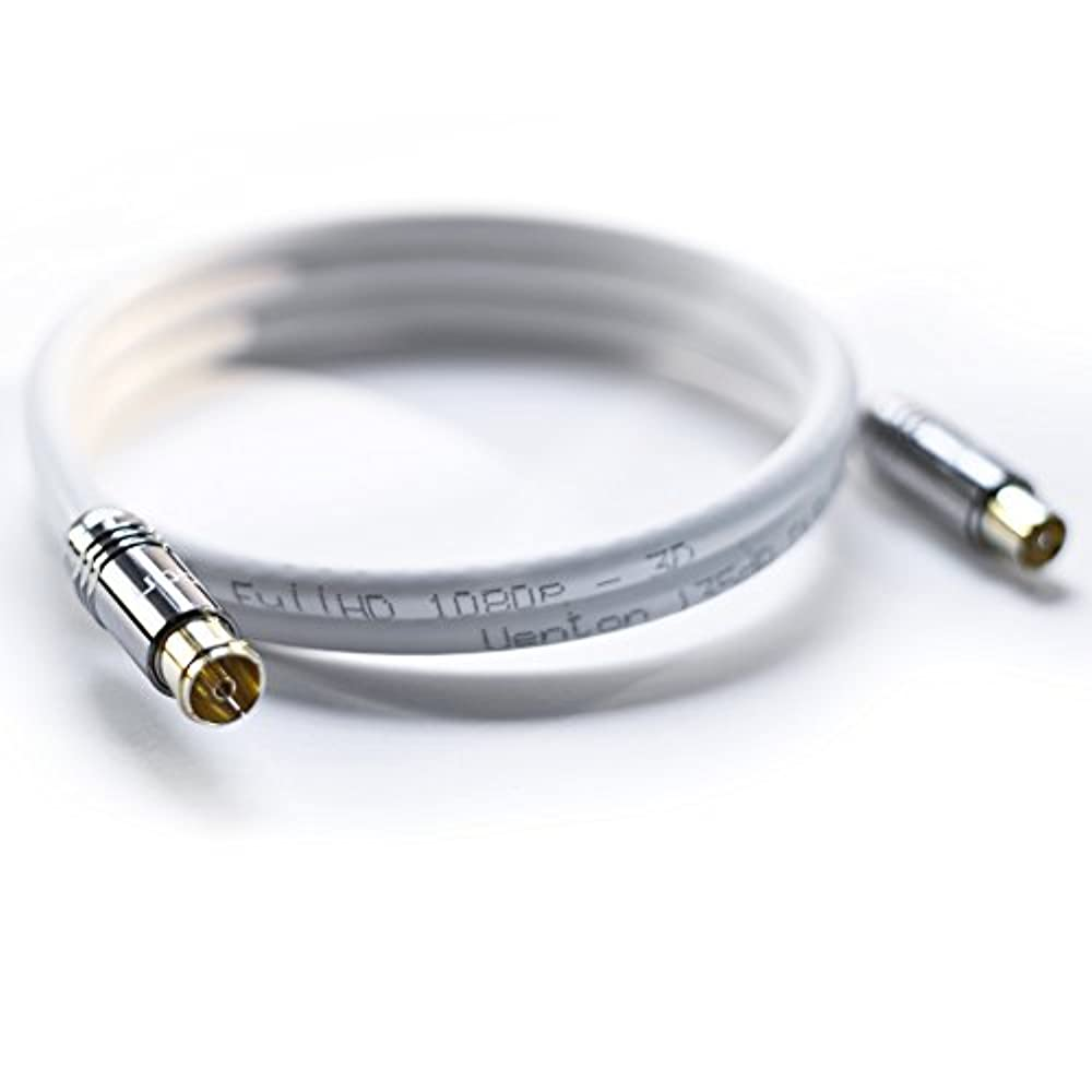 HDTV Antennenkabel 5-fach geschirmt max 140dB Class A+ DVB-C HICON Stecker HI-ANCM01 (8m, 140 dB weiß)