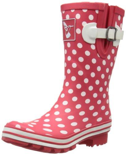 Evercreatures - Stivali di gomma Polka Dot Short, Donna Rosso (Red/White Polka Dots)