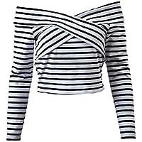 zxc Suéter Damas De Manga Larga Camisa De Rayas De Tocando Fondo, Corta,Blanco,M