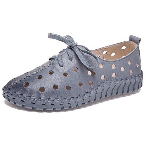 Shenn Damen Hohl Freizeit Niedrige Ferse Komfort Intelligent Leather Sneaker Schuhe 2709-2(Grau,EU38)