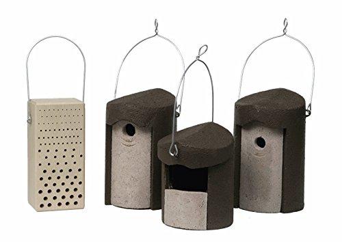 Schwegler Naturschutzprodukt Set I Balkon und Terrasse 4 Produkte für Gartenvögel und Insekte Nisthöhle, Nistkasten