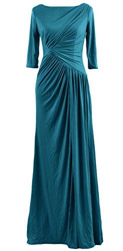MACloth Women Half Sleeve Boat Neck Jersey Long Evening Gown Celebrity Dress Teal