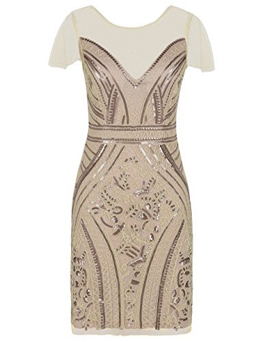kayamiya Damen Flapper Kleider Pailletten Art Deco Cocktail Gatsby Kleid M Champagner
