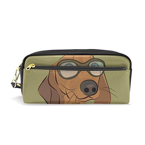 COOSUN Dackel Hund Mit Brille Portable Pu-leder Federmäppchen Schule Stift Taschen Stationäre Pouch Fall Große Kapazität Make-Up Kosmetiktasche -