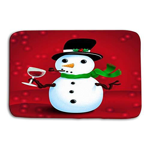 fefgrhy Kitchen Floor Bath Entrance Door Mats Rug Drunken Snowman Printable Christmas New Year Greeting Card Drinking Wine Hipster Non Slip Bathroom Mats 23.6