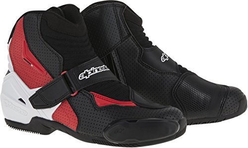 Alpinestars SMX-1R Vented Men's Street Motorcycle Shoes - Black/White/Red / 49 Mens Street Motorcycle Boots