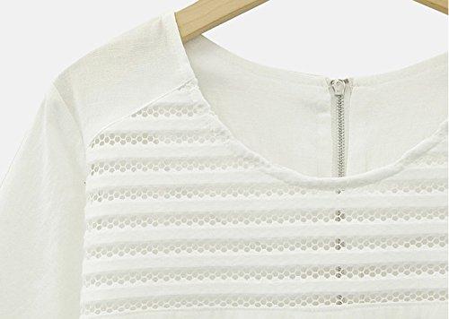 Damen T-Shirts Blusen Hemd Kurzarm Große O Ausschnitt Uni-Farben Aushöhlen Mit Reißverschluss Einteiler Schlank Sommer Fashion 2017 Die Neue Weiß