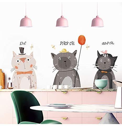 Topmail Wandtatto Wandsticker Wandaufkleber Wanddeko Entfernbar für Kinderzimmer Cafe FlurWohnzimmer (105 * 70CM,Liebliche Katze)