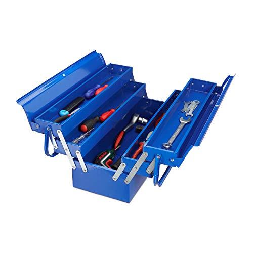 Relaxdays Werkzeugkoffer leer, 5 Fächer, mit Tragegriff, Metall, abschließbar, Werkzeugkasten, HBT 21 x 53 x 20 cm, blau