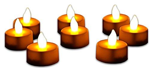 GPCT [unidades 24] [parpadeo sin llama] inalámbrico LED Tealight Velas. Ideal para boda, matrimonio, fiesta de cumpleaños, ganchos, dormitorio, cocina, festivales, Navidad decoraciones (cálido ámbar)
