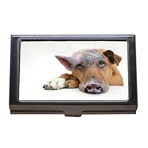 Visitenkartenhalter Brieftasche Kreditkarte ID Fall, Innere Schwein Hund Hund Schwein Zusammenstellung, Visitenkarte Edelstahl