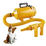 Topwill 2800W Tierfön Hundefön, Hundepflege Haartrockner Einstellbarer Windgeschwindigkeit und Temperaturbereich Pet Dryer (Gelb)