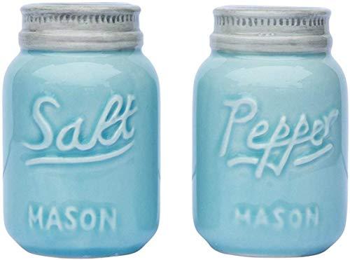 Salero & Pimentero Vintage de Comfify - Decoración adorable del tarro para el look vintage, rústico, Chic - Cerámica robusta en azul marino - 3.5 oz. De capacidad.