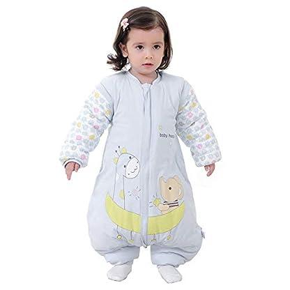 Egosy – Saco de Dormir para bebé con piernas Forradas para Invierno, de Manga Larga, con pies para bebés