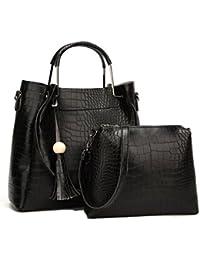 Di Grazia Women's 2 In 1 Combo Of Satchel Handbag & Shoulder Sling Bag With Tassel Charm (Black, Black-2in1-Croc-Handbag)