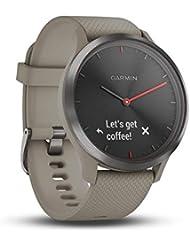 Garmin Vívomove HR Sport Smartwatch Analogico con Schermo LCD Touch, Sensore Cardio Integrato, Nero con Cinturino in Silicone Sabbia