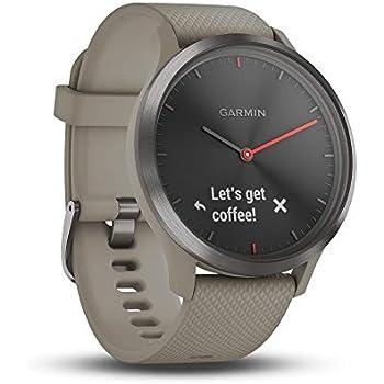 Garmin vívomove HR - Montre Connectée Hybride Élégante avec Écran Tactile – Noir, Bracelet sable