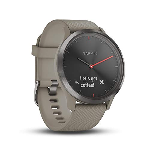Garmin vivomove HR Hybrid Smart Watch (Small/Medium) - Black with Sandstone Band