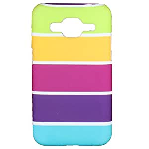 Heartly Strip Style Retro Color Armor Hybrid Hard Bumper Back Case Cover For Samsung Galaxy S Duos 3 SM-G313HU - Yellow Field