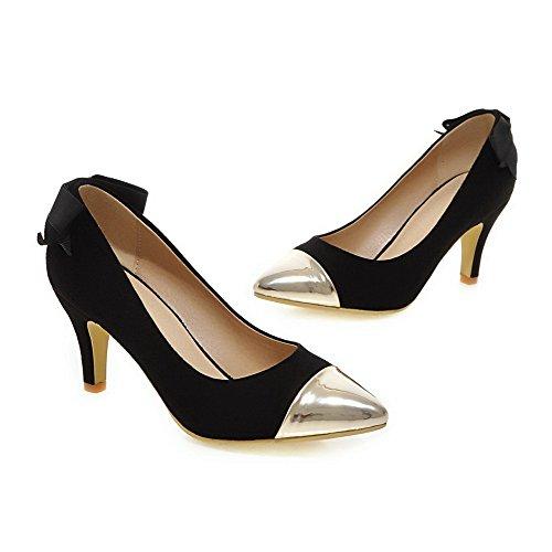 VogueZone009 Femme à Talon Haut Pointu Fermeture D'Orteil Tire Chaussures Légeres Noir
