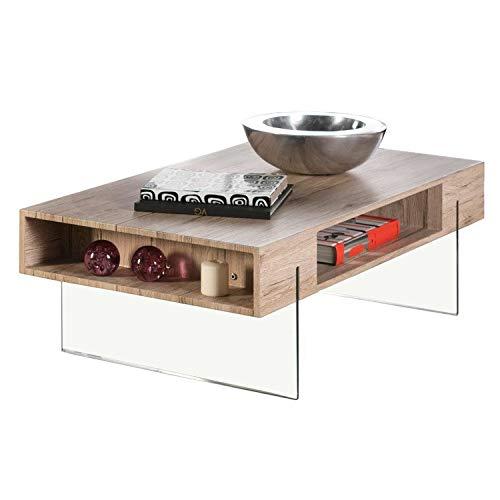 DLM Design Table Basse en Bois décor San Remo avec niches + Pieds en Verre L110cm Chalten