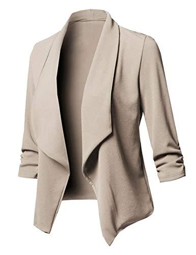 245c03b92af908 Uranus Femme Bazer Col à Revers Chic Veste de Tailleur d'affaire Business  Slim Fit Grande Taille Manteau pour Femme