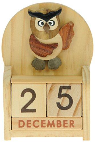 Gufo : legno calendario perpetuo: tradizionale a mano idee regalo di natale: dimensioni 10,5 x 7 x 3,5 centimetri: compra un insolito e stravagante regalo di natale alternativo per un calendario dell'avvento: unico e nuovo regalino: regali per tutte le età! regalo per sempre
