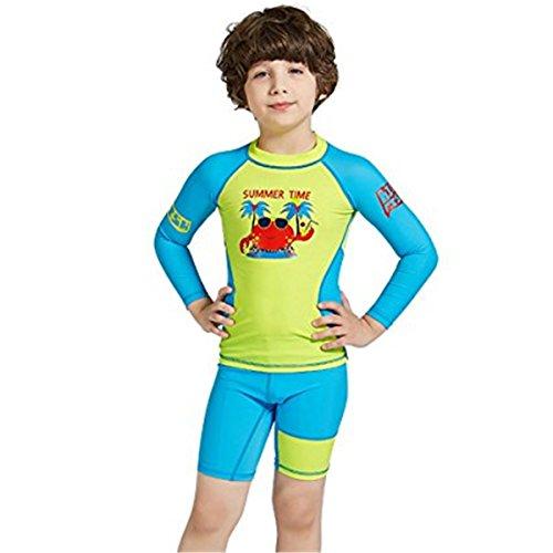 FAIRYRAIN Baby Jungen Mädchen 2-teiliges Set Schwimmanzug UPF 50 Badeanzug Langarm mit UV-Schutz Karikatur-Druck Tops + Badeshorts Set UV Schutz Badeanzug