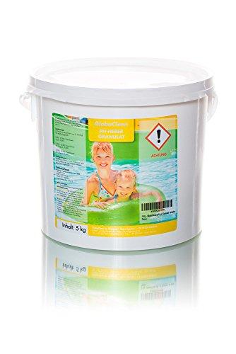 GlobaClean® pH-Heber 5 Kg Granulat ph plus, zur schnellen Anhebung des pH-Werts Ihres Poolwassers, einfache Dosierung, schnell löslich, Pool-Pflegemittel geeignet für alle Wasser- und Filtersysteme
