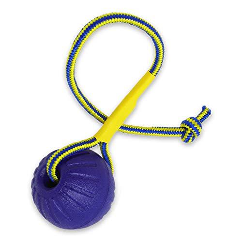 Rosi's Barf-Glück Premium Hundeball mit Seil ⌀ 7cm Hunde Wurfball unzerstörbar - Wasser Hundespielzeug Ball für Hunde