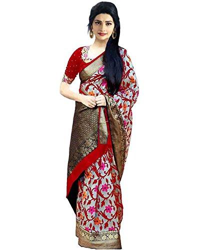 Rajeshwar Fashion Women's Raw Silk Saree With Blouse Piece (Km 1049 Red...