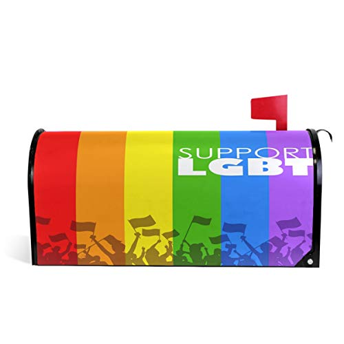Wamika People Showing LGBT Support Rainbow Magnetic Mailbox-Cover MailWraps Rainbow Peace Gay Pride Mailbox Wraps Post Box Garden Hard Home Decor for Outdoor Standard Größe 5,8 cm (L) x 45,7 cm (B)