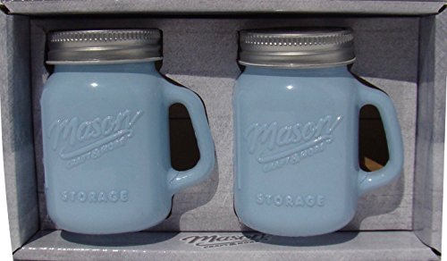 Mason Jar Salt and Pepper Shaker - Milk Glass Blue by TTU Blue Milk Glass
