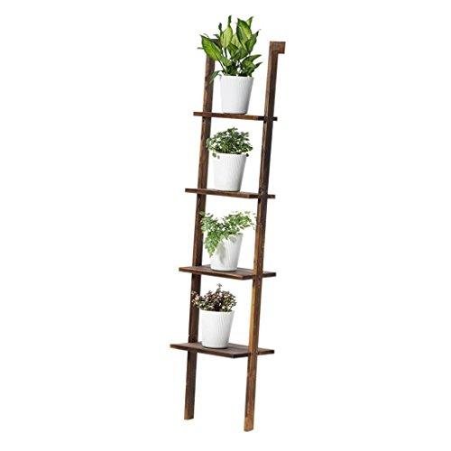 XFPINK BlumenstäNder Massivholz Ladder-Shaped 4-Tier Blumentopf Display Rack Balkon Innen Gegen Die Wand Regale Boden Stehend BüCherregal Multifunktions-Holzkohle Farbe -
