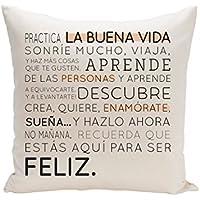 UO Funda de Cojín, Estampado Buena Vida, Algodón-Poliéster, Salmón, 45x45x2 cm