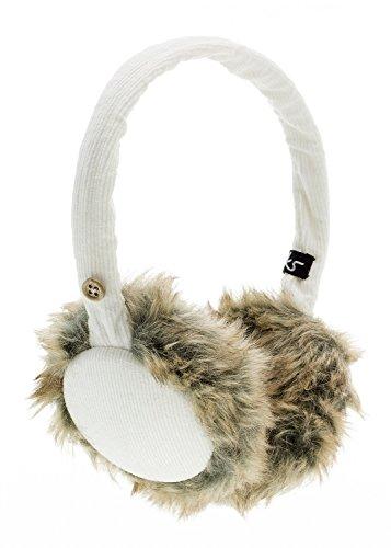 KitSound Audio Ohrenschützer Ohrenwärmer Cord mit flauschigem Fell, Integrierten Kopfhörern und 3,5 Audiokabel für iPod, iPhone, iPad, Smartphone, Tablet und MP3 Player - Creme-Weiß - Cream Cable Knit