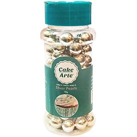 3mm plata perlas de azúcar pequeña Comestible crujiente Azúcar Bolas para Tarta Cupcakes Sprinkles–Decoración comestible joyas para decorar tartas–80g