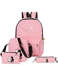 Zibuyu 4pcs Women Backpacks Cute Cat Printing Canvas Backpacks School Bags(Pink)