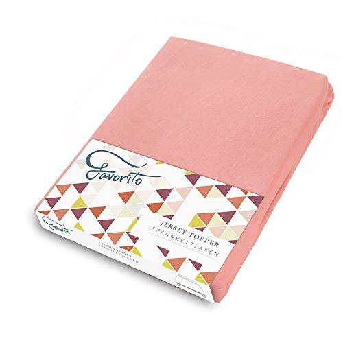 Favorito Jersey Topper Spannbettlaken - 100% Baumwolle Spannbetttuch - 180x200 - 200x200 cm, Flamingo (Rosa Flamingo-stoff)