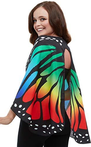 Monarch Schmetterling Kostüm Flügel - Fancy Me Damen Regenbogen-Umhang Monarch-Schmetterling Karneval