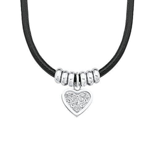 S.Oliver Kinder Collier Herz Edelstahl Leder schwarz Glas Kristalle 37+3 cm weiß (Kristall Halskette Leder)